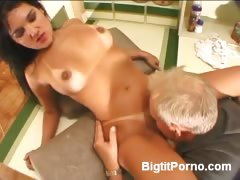 Latina with Big Tits Receives Oral