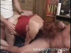 Hot Grandma Threesome