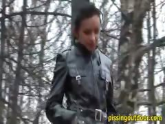 Pissing on dried leaves