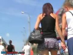 Leggy girl flashing her hot upskirt