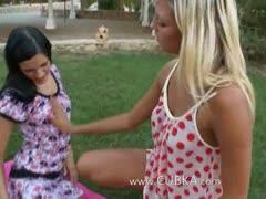 Lesbian teens spread pussy holes