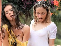 attractive girls in the rain