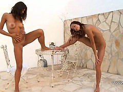 Two russian teenies naked outdoor