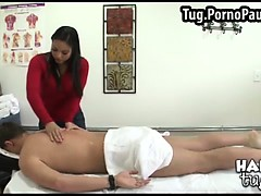 Asian uses her tits to massage