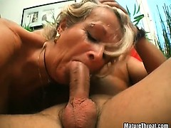 Hot old slut enjoys in two cocks pumping