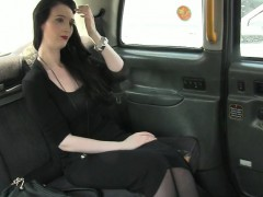 Raven haired passenger paying her fare with her pussy